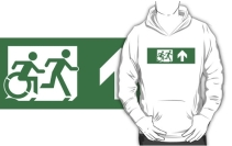 Accessible Means of Egress Icon Exit Sign Wheelchair Wheelie Running Man Symbol by Lee Wilson PWD Disability Emergency Evacuation Adult T-shirt 467