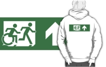 Accessible Means of Egress Icon Exit Sign Wheelchair Wheelie Running Man Symbol by Lee Wilson PWD Disability Emergency Evacuation Adult T-shirt 468