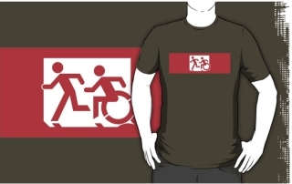 Accessible Means of Egress Icon Exit Sign Wheelchair Wheelie Running Man Symbol by Lee Wilson PWD Disability Emergency Evacuation Adult T-shirt 469