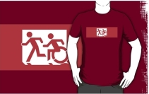 Accessible Means of Egress Icon Exit Sign Wheelchair Wheelie Running Man Symbol by Lee Wilson PWD Disability Emergency Evacuation Adult T-shirt 470