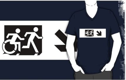 Accessible Means of Egress Icon Exit Sign Wheelchair Wheelie Running Man Symbol by Lee Wilson PWD Disability Emergency Evacuation Adult T-shirt 47