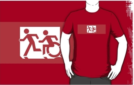 Accessible Means of Egress Icon Exit Sign Wheelchair Wheelie Running Man Symbol by Lee Wilson PWD Disability Emergency Evacuation Adult T-shirt 471