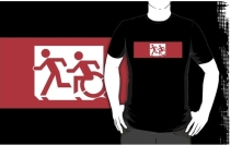 Accessible Means of Egress Icon Exit Sign Wheelchair Wheelie Running Man Symbol by Lee Wilson PWD Disability Emergency Evacuation Adult T-shirt 472