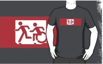 Accessible Means of Egress Icon Exit Sign Wheelchair Wheelie Running Man Symbol by Lee Wilson PWD Disability Emergency Evacuation Adult T-shirt 473