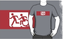 Accessible Means of Egress Icon Exit Sign Wheelchair Wheelie Running Man Symbol by Lee Wilson PWD Disability Emergency Evacuation Adult T-shirt 474
