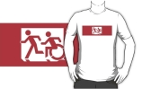 Accessible Means of Egress Icon Exit Sign Wheelchair Wheelie Running Man Symbol by Lee Wilson PWD Disability Emergency Evacuation Adult T-shirt 475