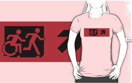 Accessible Means of Egress Icon Exit Sign Wheelchair Wheelie Running Man Symbol by Lee Wilson PWD Disability Emergency Evacuation Adult T-shirt 476
