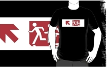 Accessible Means of Egress Icon Exit Sign Wheelchair Wheelie Running Man Symbol by Lee Wilson PWD Disability Emergency Evacuation Adult T-shirt 477