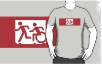 Accessible Means of Egress Icon Exit Sign Wheelchair Wheelie Running Man Symbol by Lee Wilson PWD Disability Emergency Evacuation Adult T-shirt 478