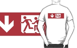 Accessible Means of Egress Icon Exit Sign Wheelchair Wheelie Running Man Symbol by Lee Wilson PWD Disability Emergency Evacuation Adult T-shirt 479