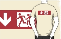 Accessible Means of Egress Icon Exit Sign Wheelchair Wheelie Running Man Symbol by Lee Wilson PWD Disability Emergency Evacuation Adult T-shirt 480