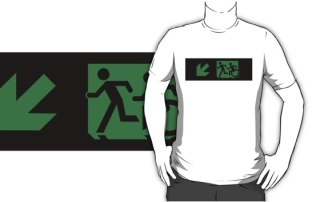 Accessible Means of Egress Icon Exit Sign Wheelchair Wheelie Running Man Symbol by Lee Wilson PWD Disability Emergency Evacuation Adult T-shirt 48