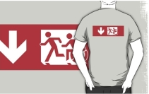 Accessible Means of Egress Icon Exit Sign Wheelchair Wheelie Running Man Symbol by Lee Wilson PWD Disability Emergency Evacuation Adult T-shirt 481