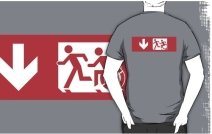 Accessible Means of Egress Icon Exit Sign Wheelchair Wheelie Running Man Symbol by Lee Wilson PWD Disability Emergency Evacuation Adult T-shirt 482
