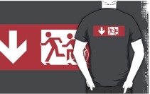 Accessible Means of Egress Icon Exit Sign Wheelchair Wheelie Running Man Symbol by Lee Wilson PWD Disability Emergency Evacuation Adult T-shirt 483