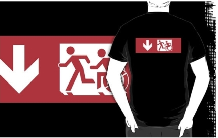 Accessible Means of Egress Icon Exit Sign Wheelchair Wheelie Running Man Symbol by Lee Wilson PWD Disability Emergency Evacuation Adult T-shirt 484