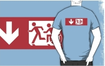 Accessible Means of Egress Icon Exit Sign Wheelchair Wheelie Running Man Symbol by Lee Wilson PWD Disability Emergency Evacuation Adult T-shirt 485