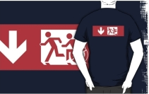 Accessible Means of Egress Icon Exit Sign Wheelchair Wheelie Running Man Symbol by Lee Wilson PWD Disability Emergency Evacuation Adult T-shirt 487