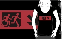 Accessible Means of Egress Icon Exit Sign Wheelchair Wheelie Running Man Symbol by Lee Wilson PWD Disability Emergency Evacuation Adult T-shirt 488
