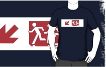 Accessible Means of Egress Icon Exit Sign Wheelchair Wheelie Running Man Symbol by Lee Wilson PWD Disability Emergency Evacuation Adult T-shirt 489