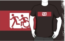 Accessible Means of Egress Icon Exit Sign Wheelchair Wheelie Running Man Symbol by Lee Wilson PWD Disability Emergency Evacuation Adult T-shirt 49
