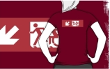 Accessible Means of Egress Icon Exit Sign Wheelchair Wheelie Running Man Symbol by Lee Wilson PWD Disability Emergency Evacuation Adult T-shirt 492