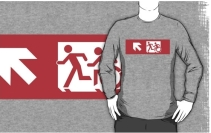 Accessible Means of Egress Icon Exit Sign Wheelchair Wheelie Running Man Symbol by Lee Wilson PWD Disability Emergency Evacuation Adult T-shirt 496
