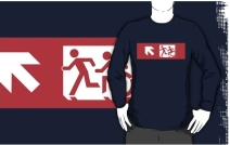 Accessible Means of Egress Icon Exit Sign Wheelchair Wheelie Running Man Symbol by Lee Wilson PWD Disability Emergency Evacuation Adult T-shirt 497