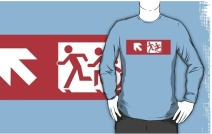 Accessible Means of Egress Icon Exit Sign Wheelchair Wheelie Running Man Symbol by Lee Wilson PWD Disability Emergency Evacuation Adult T-shirt 498