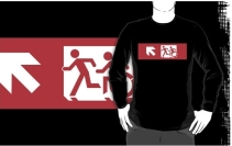 Accessible Means of Egress Icon Exit Sign Wheelchair Wheelie Running Man Symbol by Lee Wilson PWD Disability Emergency Evacuation Adult T-shirt 499