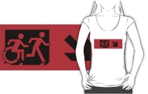Accessible Means of Egress Icon Exit Sign Wheelchair Wheelie Running Man Symbol by Lee Wilson PWD Disability Emergency Evacuation Adult T-shirt 500
