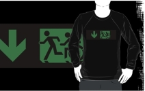 Accessible Means of Egress Icon Exit Sign Wheelchair Wheelie Running Man Symbol by Lee Wilson PWD Disability Emergency Evacuation Adult T-shirt 50