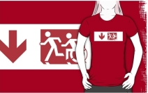 Accessible Means of Egress Icon Exit Sign Wheelchair Wheelie Running Man Symbol by Lee Wilson PWD Disability Emergency Evacuation Adult T-shirt 501