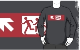 Accessible Means of Egress Icon Exit Sign Wheelchair Wheelie Running Man Symbol by Lee Wilson PWD Disability Emergency Evacuation Adult T-shirt 502
