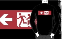 Accessible Means of Egress Icon Exit Sign Wheelchair Wheelie Running Man Symbol by Lee Wilson PWD Disability Emergency Evacuation Adult T-shirt 503