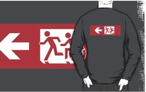 Accessible Means of Egress Icon Exit Sign Wheelchair Wheelie Running Man Symbol by Lee Wilson PWD Disability Emergency Evacuation Adult T-shirt 504