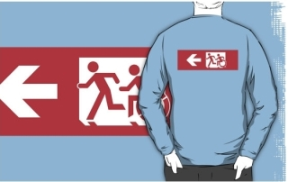 Accessible Means of Egress Icon Exit Sign Wheelchair Wheelie Running Man Symbol by Lee Wilson PWD Disability Emergency Evacuation Adult T-shirt 505