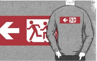 Accessible Means of Egress Icon Exit Sign Wheelchair Wheelie Running Man Symbol by Lee Wilson PWD Disability Emergency Evacuation Adult T-shirt 507