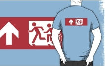 Accessible Means of Egress Icon Exit Sign Wheelchair Wheelie Running Man Symbol by Lee Wilson PWD Disability Emergency Evacuation Adult T-shirt 508