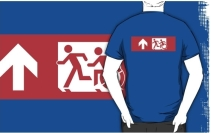 Accessible Means of Egress Icon Exit Sign Wheelchair Wheelie Running Man Symbol by Lee Wilson PWD Disability Emergency Evacuation Adult T-shirt 509