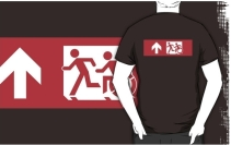 Accessible Means of Egress Icon Exit Sign Wheelchair Wheelie Running Man Symbol by Lee Wilson PWD Disability Emergency Evacuation Adult T-shirt 510