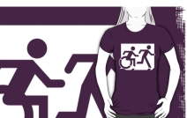 Accessible Means of Egress Icon Exit Sign Wheelchair Wheelie Running Man Symbol by Lee Wilson PWD Disability Emergency Evacuation Adult T-shirt 51
