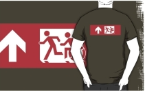 Accessible Means of Egress Icon Exit Sign Wheelchair Wheelie Running Man Symbol by Lee Wilson PWD Disability Emergency Evacuation Adult T-shirt 511