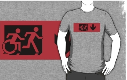 Accessible Means of Egress Icon Exit Sign Wheelchair Wheelie Running Man Symbol by Lee Wilson PWD Disability Emergency Evacuation Adult T-shirt 512