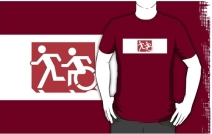 Accessible Means of Egress Icon Exit Sign Wheelchair Wheelie Running Man Symbol by Lee Wilson PWD Disability Emergency Evacuation Adult T-shirt 513