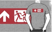 Accessible Means of Egress Icon Exit Sign Wheelchair Wheelie Running Man Symbol by Lee Wilson PWD Disability Emergency Evacuation Adult T-shirt 514
