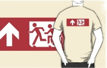Accessible Means of Egress Icon Exit Sign Wheelchair Wheelie Running Man Symbol by Lee Wilson PWD Disability Emergency Evacuation Adult T-shirt 515