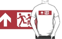 Accessible Means of Egress Icon Exit Sign Wheelchair Wheelie Running Man Symbol by Lee Wilson PWD Disability Emergency Evacuation Adult T-shirt 516