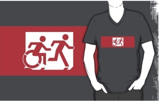 Accessible Means of Egress Icon Exit Sign Wheelchair Wheelie Running Man Symbol by Lee Wilson PWD Disability Emergency Evacuation Adult T-shirt 517