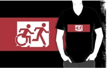 Accessible Means of Egress Icon Exit Sign Wheelchair Wheelie Running Man Symbol by Lee Wilson PWD Disability Emergency Evacuation Adult T-shirt 518